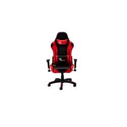 Gaming stol - sort/rød ægte læder, med armlæn