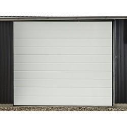 Garageport med automatik og 2 fjernbetjeninger 241 cm bred x 228 cm høj