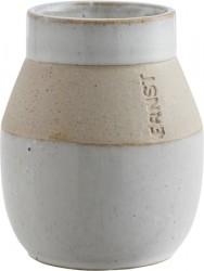 Glaseret vase m/mat kant