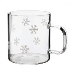 Glaskrus med snefnug, rummer 2dl 4-pak