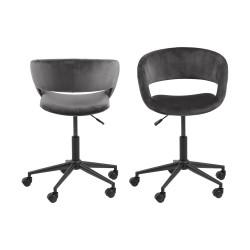 Grace skrivebordsstol m. armlæn og bløde hjul - mørkegrå stof og sort metal