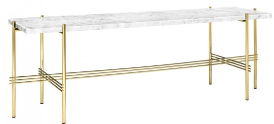 GUBI - TS1 Consol Rect. - Hvid marmor, messing