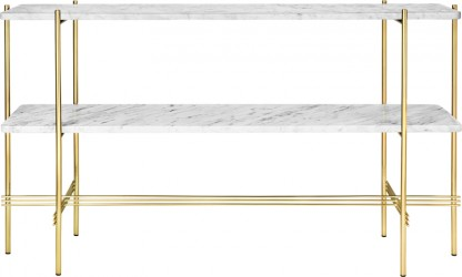 GUBI - TS2 Consol Rect. - Hvid marmor, messing