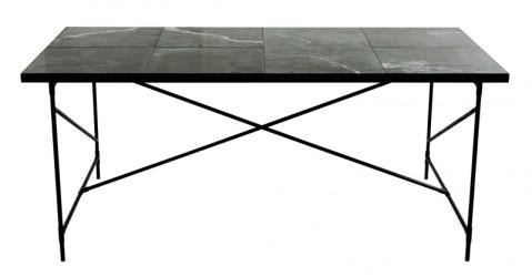 "HANDVÃ""RK - Spisebord 185x94 - Grøn Marmor, sort stel"