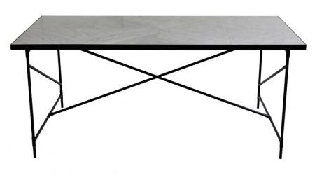 "HANDVÃ""RK - Spisebord 185x94 - Hvid Marmor, sort stel"