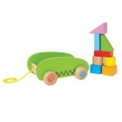Hape vogn med klodser - Mini Block & Roll