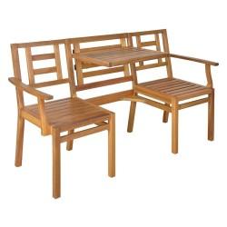 Havebænk / bord med 2 stole - Natur