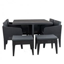 Havemøbelsæt med 4 stole og 4 skamler - Katja