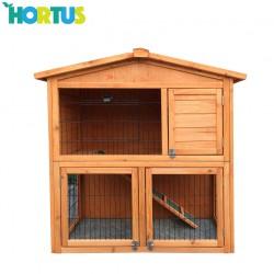 Hortus - Kaninbur i træ brunbejset 101,5 x 54,7 x 100 cm