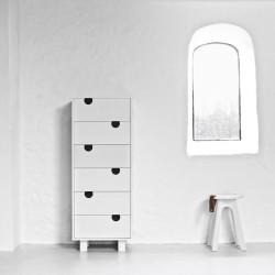 House Kommode m. 6 skuffer - Hvid/Hvid