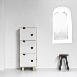 House Kommode m. 6 skuffer - Natur/Hvid