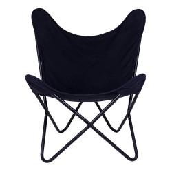 House Nordic Como lænestol i sort kanvas med sort stel