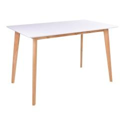 HOUSE NORDIC Vojens spisebord - hvid træplade og natur træben (120x70)