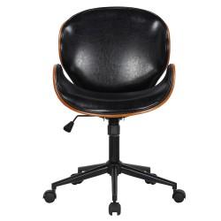HOUSE OF SANDER Rind kontorstol, m. hjul, armlæn, højdejusterbar - mørkt træ, sort kunstlæder, metal