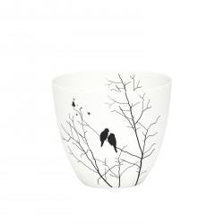 Hübsch fyrfadsglas m/fugle-motiv porcelæn hvid