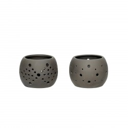 Hübsch fyrfadsstage porcelæn sort stk 2