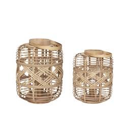 HÜBSCH lanterne - flettet bambus og glas, rund, sæt m. 2