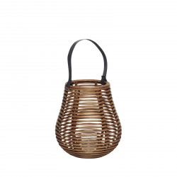 Hübsch lanterne m/glas rattan small