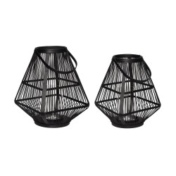 HÜBSCH lanterne - sort bambus og glas, firkantet, sæt m. 2