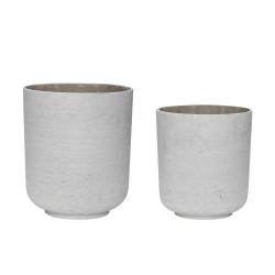 HÜBSCH potte - grå fibersten, runde, sæt m. 2