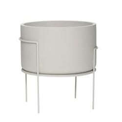 HÜBSCH potte - lysegrå fibersten/metal, rund (Ø40)