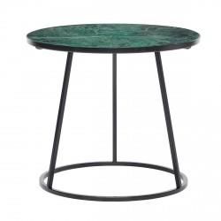 Hübsch Bord m/sort stel, metal/marmor, sort/grøn