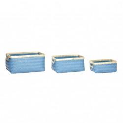 HÜBSCH kurv - blå/natur polyrattan/bambus (sæt m. 3)