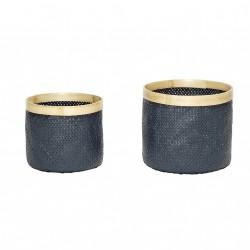 HÜBSCH kurv - grå/natur bambus, rund (sæt m. 2)