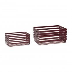 HÜBSCH kurv - rød metal, rektangulær (sæt á 2 stk.)