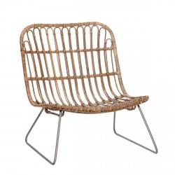 Hübsch Loungestol af rattan m/metalben