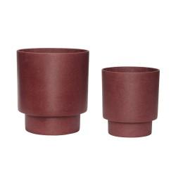 HÜBSCH potte - bordeaux fibersten, rund, sæt m. 2