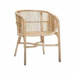 Hübsch spisebordsstol m. armlæn, naturligt rattan