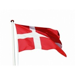 Hvid træflagstang 10 meter - Med flag og vimpel