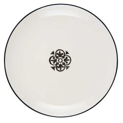 IB LAURSEN frokosttallerken Casblanca - hvid/sort stentøj