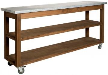 IB LAURSEN konsolbord - brun metal, m. zink top og 2 hylder, rektangulær, (80x40cm)