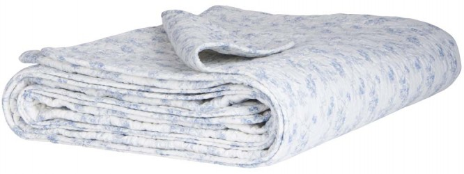 Ib Laursen Sengetæppe hvid m/blåt mønster
