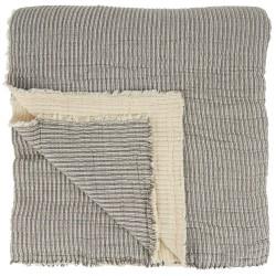 IB LAURSEN sengetæppe - hvid/grå bomuld, kvadratisk (240x240)