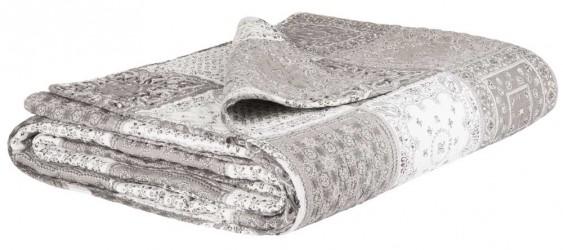 Ib Laursen Sengetæppe printet patchwork grå