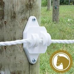 Isolator til elhegn - Hvid klo-isolator til polyreb/elreb (25 stk)