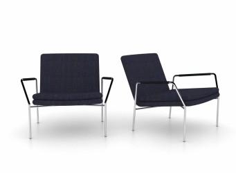 JENSENPLUS Hoyo loungestol - blå stof/cognac læder og krom, m. armlæn Blå Sort