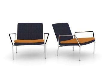 JENSENPLUS Hoyo loungestol - blå stof/cognac læder og krom, m. armlæn Cognac (læder) Ingen