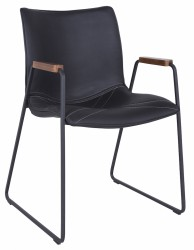 Johan Spisebordsstol m/armlæn - Sort PU