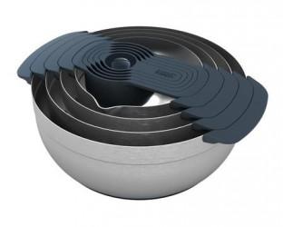 Joseph Joseph 100 Nest tilberedningsskålsæt med målebæger børstet stål/grå