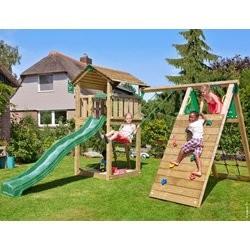 Jungle Gym Cottage legetårn med klatremodul og 1 gynge