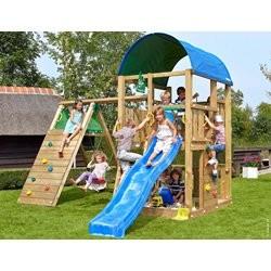 Jungle Gym Farm legetårn med klatremodul og 1 gynge