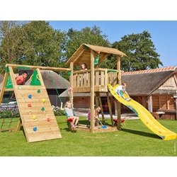 Jungle Gym Shelter legetårn med klatremodul og 1 gynge