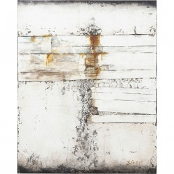 KARE DESIGN Abstrakt Grå Line Two oliemaleri - grå/creme/multifarvet træ (150x120)