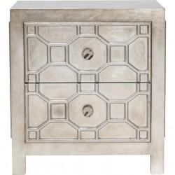 KARE DESIGN Alhambra natbord - sølv, m. 2 skuffer