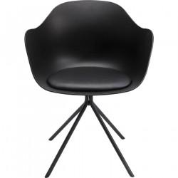 KARE DESIGN Bel Air spisebordsstol - sort plastik/sort plastikbelagt stof/sort stål, m. armlæn