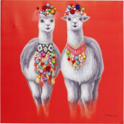 Kare Design Billede Touched Lama Couple 90 x 90 cm